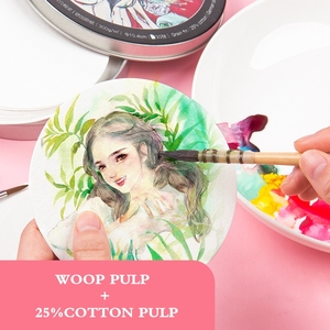Image 3 - Mixed cotton Professional Round Watercolor Paper Pad Aquarelle Book Watercolour Painting Paper Hand Paint Office School Supplies