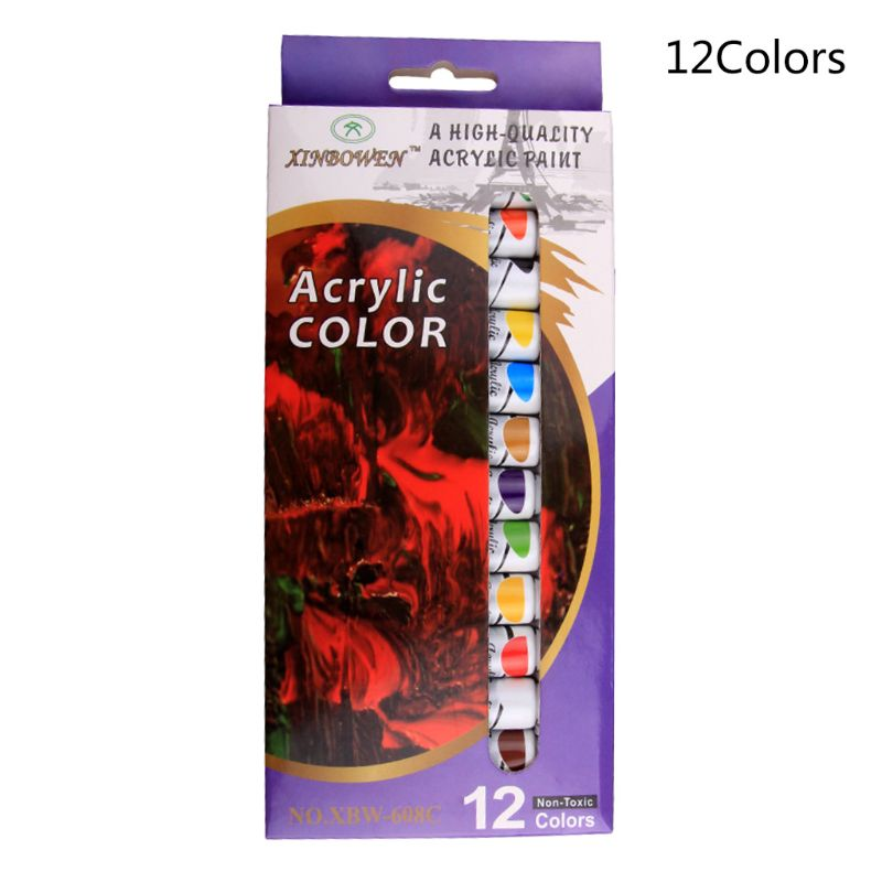 12 ML 12 Colors Professional Acrylic Paints Set Hand Painted Wall Painting Textile Paint Brightly Colored Pigment Art Supplies