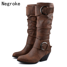 цена на 2020 Fashion Plus Size 43 High Heels Knee High Boots Women Wedges Winter Shoes Warm Plush Snow Fur Boot Botas Mujer