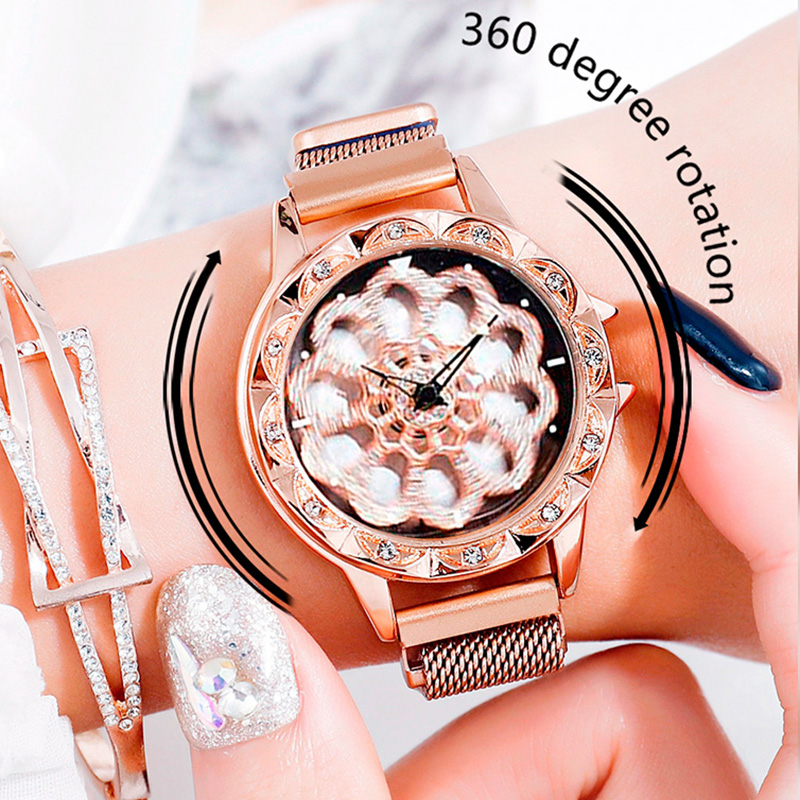Lucky Watch Ladies 360 Degree Rotating Luxury Rose Gold Watch Crystal Quartz Magnet Wrist Watches relogio feminino relojes mujer in Women 39 s Watches from Watches