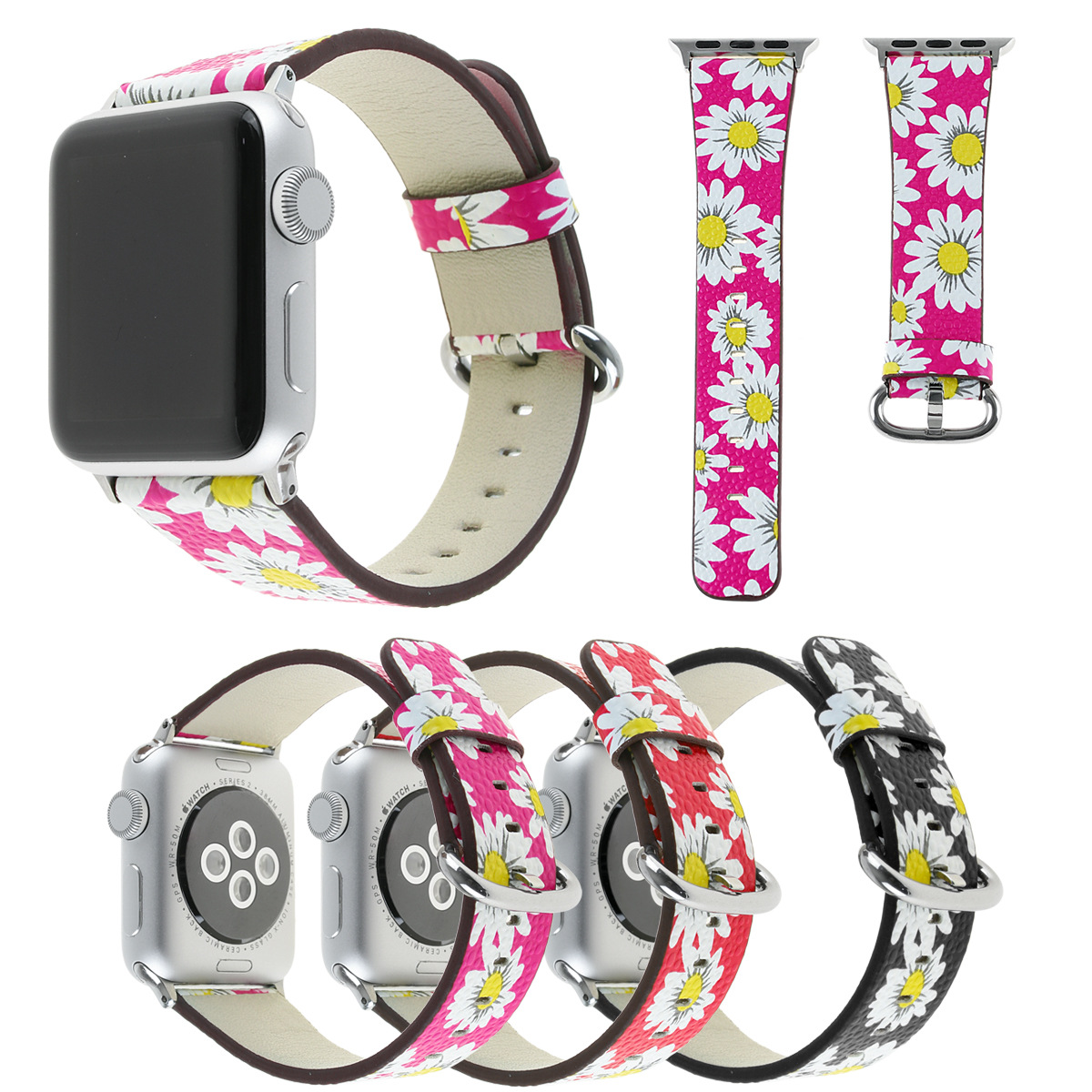 Europe And America Hot Sales Apple Watch Band Chrysanthemum Genuine Leather Wrist Strap Applicable APPLE IWatch4321 Generation H