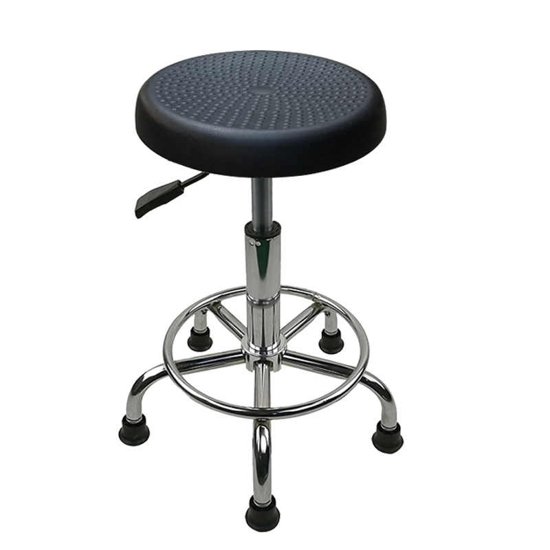 100pcs PACK, Cleanroom ESD Stool With Footrest / Electro-Static Dissipating PU Seat / One Touch Pneumatic Height Adjustment