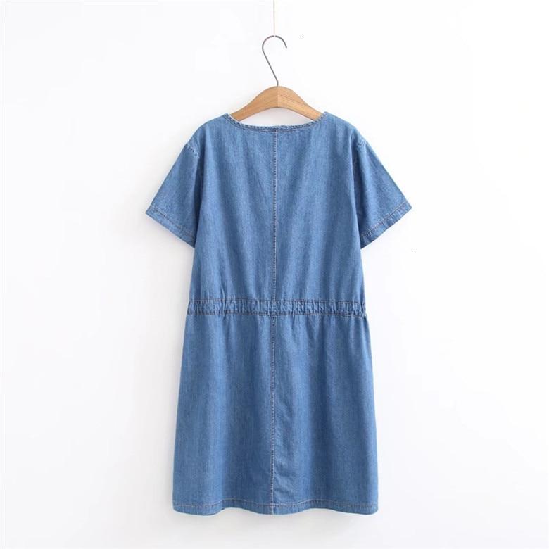 2019 Denim robe grande taille femmes robe bleu Jeans chemise femmes robes bureau perte été robe Vestido Femininos - 2