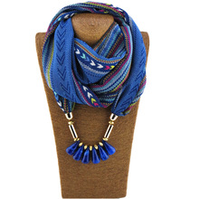 Colorful printed chiffon round Necklace Acrylic Beads Pendant pendant scarf