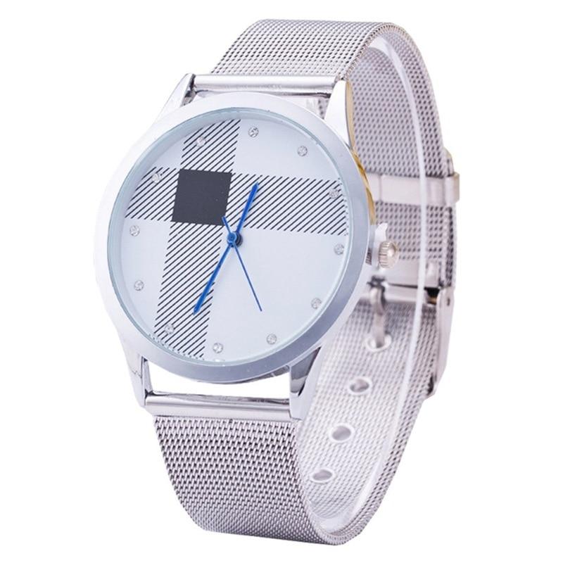 JOOM Classic Gold Silver Mesh Belt Couple Table Fashionable Men And Women Steel Grid Watch Wristwatch