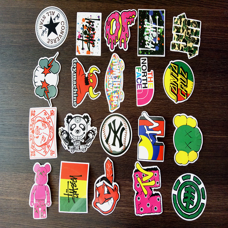 Image 3 - 100 PCS Skateboard Fashion brand Logo Waterproof Sticker For Luggage Car Guaitar Skateboard Phone Laptop Stickers-in Stickers from Toys & Hobbies