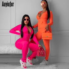 Auyiufar Fitness Sporty Workout 2 Piece Set Active Wear Casual Tracksuit New Solid Zipper Long Sleeve Crop Top And Pants