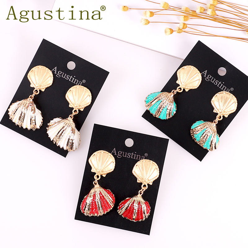 2019 Summer Natural Beach Shell Drop Earrings For Women Gold Color Cowrie Sea Shell Dangle Earring Boho Jewelry Gift Statement
