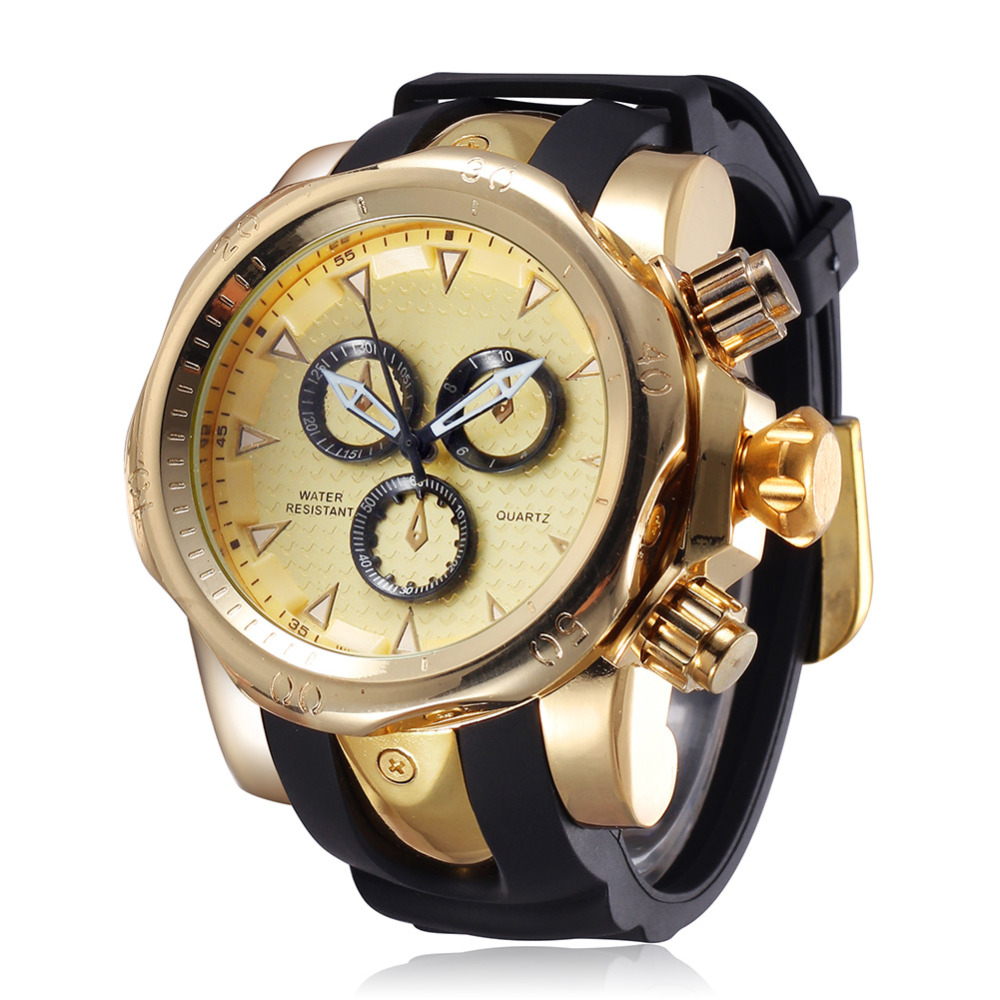 Fashion Silicone Strap Gold Watch Men Luxury Brand Quartz Watches Big Dial 55MM Wrist Watch Sport Relogio Masculino De Luxo