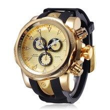 цены Fashion Silicone Strap Gold Watch Men Luxury Brand Quartz Watches Big Dial 55MM Wrist Watch Sport relogio masculino de luxo