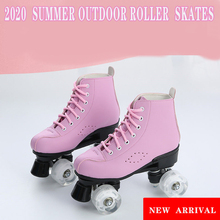 Adult Artificial  Leather Roller Skates Double Line Skates Patines with 4 -wheel  utdoor  Sports Shoes