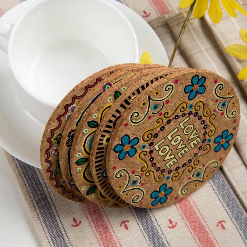 1/4Pcs Gabus Alami Bulat Cangkir Tatakan Minuman Tatakan Gelas Isolasi Panas Bohemia Bermotif Pot Pemegang Tikar untuk Kopi meja Meja