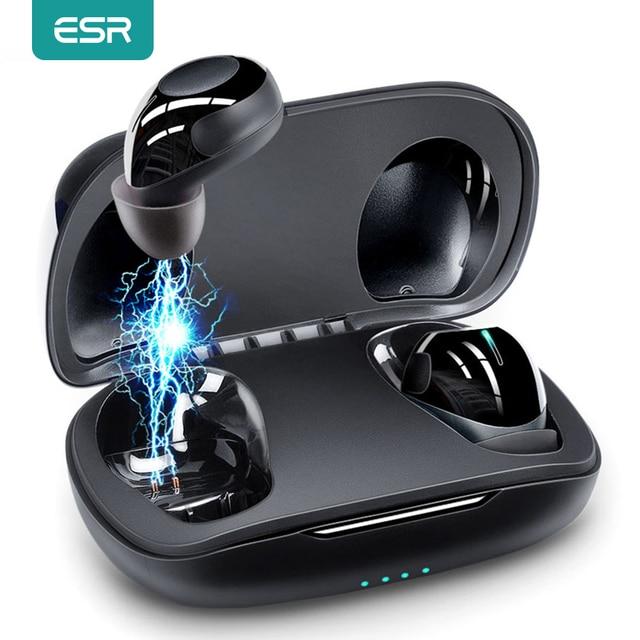 سماعات الأذن ESR TWS Mini اللاسلكية, بلوتوث 5.0 ، خاصية إلغاء الضوضاء ، IPX5 HD ، سماعات أذن ستيريو مع ميكروفون ، بطارية تدوم 9 ساعات