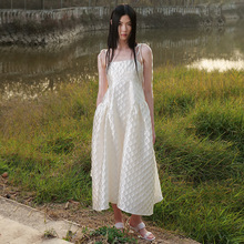 2021 New Women's Dresses Spring and summer new Korean style waist slimming lace-up dress APM 13-line suspender ski