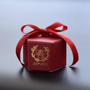 Image 3 - Angepasst Wein Rot Kreative Marmorierung Stil Candy Boxen Hochzeit Gefälligkeiten Dekoration Partei Liefert Baby Papier Geschenk Box DIY Logo