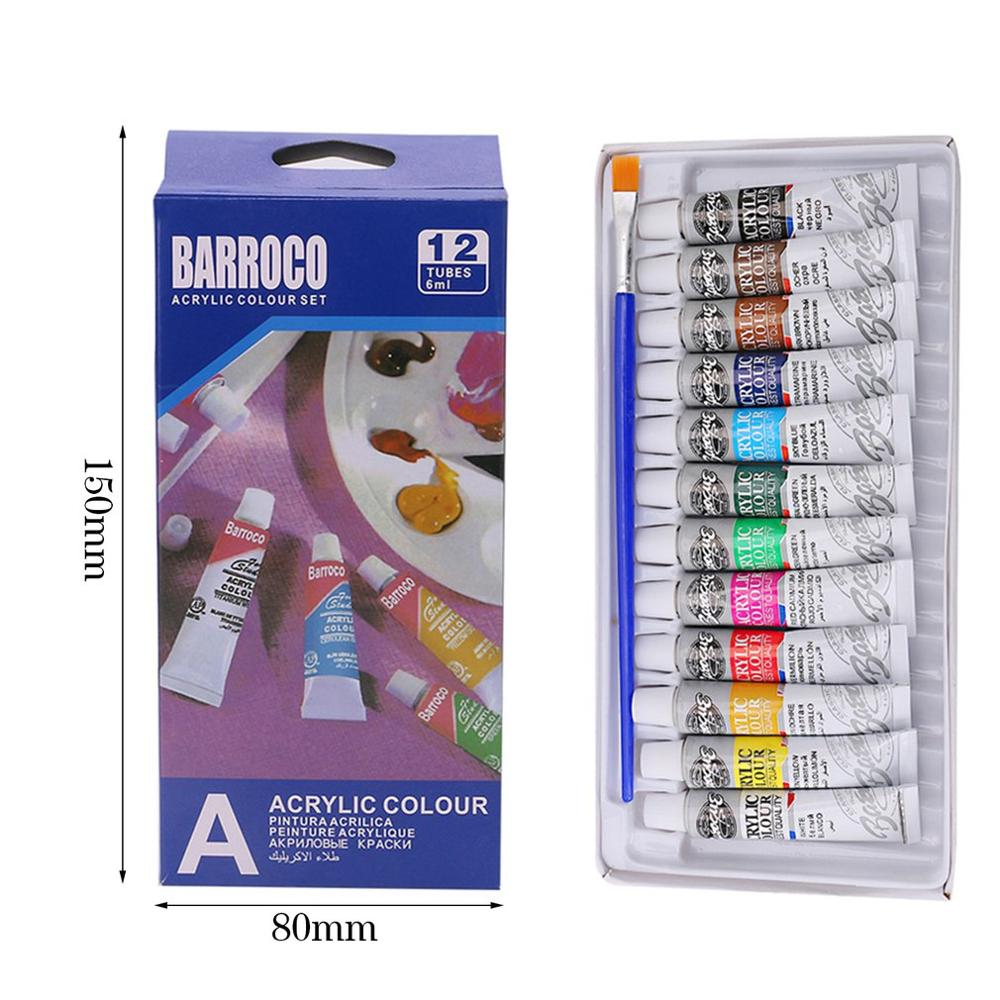 6ML 12 Colors Professional Acrylic Paints Set Hand Painted Wall Painting Textile Paint Brightly Colored Art Supplies Free Brush