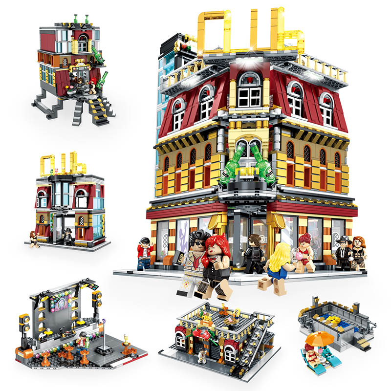 MOC Creator Expert LED 5in1 Luxury Night Club City Street View Building Blocks 2488 Piece Bricks Kids Gifts Toys For Children-in Blocks from Toys & Hobbies