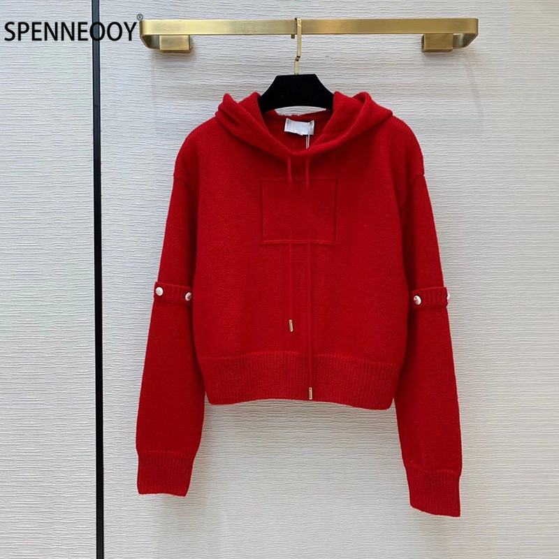 SPENNYMOOR дизайнерская брендовая осенне зимняя вязаная толстовка с капюшоном для женщин, модный Повседневный свитер с длинным рукавом, пуловер