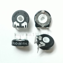 5pcs Variable Resistor PT15 500K 504 Horizontal Elliptical Hole Adjustable Potentiometer