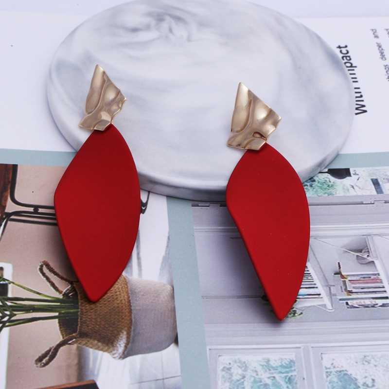 SHUANGR 6 style moda przesadzone duże kolczyki dla kobiet geometryczny liść kolczyki złote kobiety biżuteria Party prezent hurtownie TY
