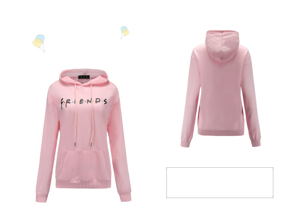 Women Friends Hoodies Harajuku Letters Print Pocket Warm Thicken Pullovers Hip Hop Loose Solid Female Sweatshirts 12