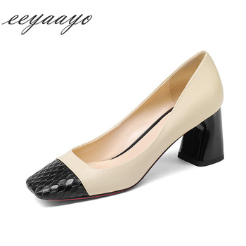 2020 New Genuine Leather Women Pumps High Square Heels Fashion Women Cow Leather Shoes Black Sexy Office Ladies High Heels