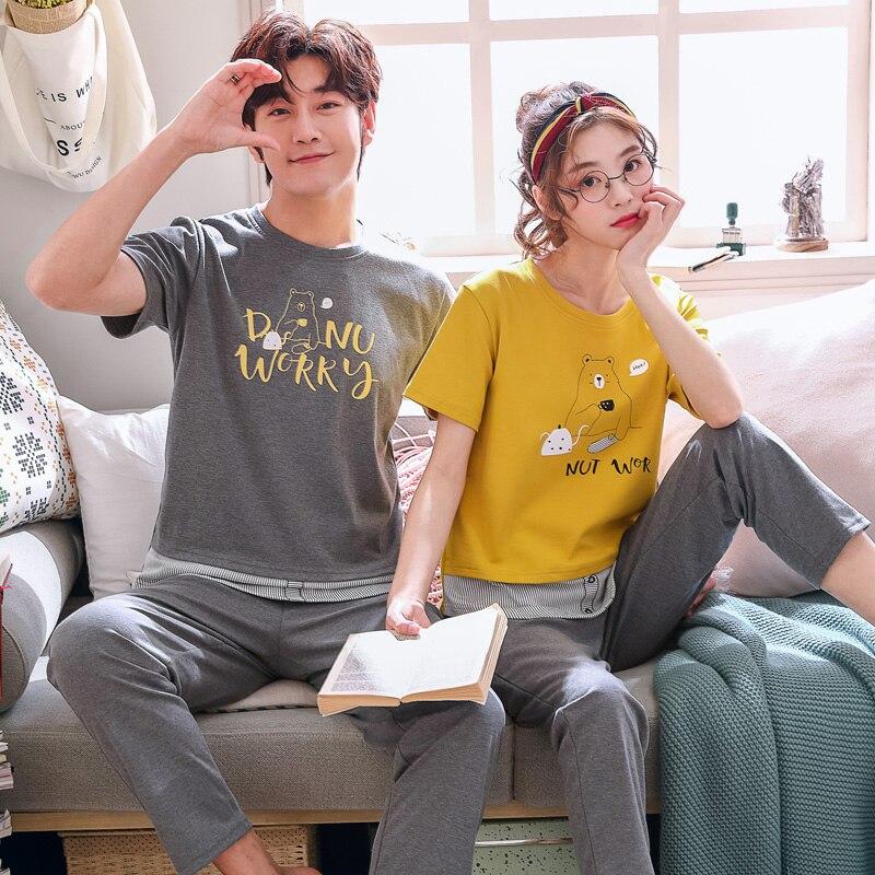 Image 3 - Couple Pajama Sets Sexy Summer Spring Lover Pijama Set Soft House Wear Cotton Cute Rabbit Print Tops+ Pants  Women Pajamas SetsPajama Sets   -