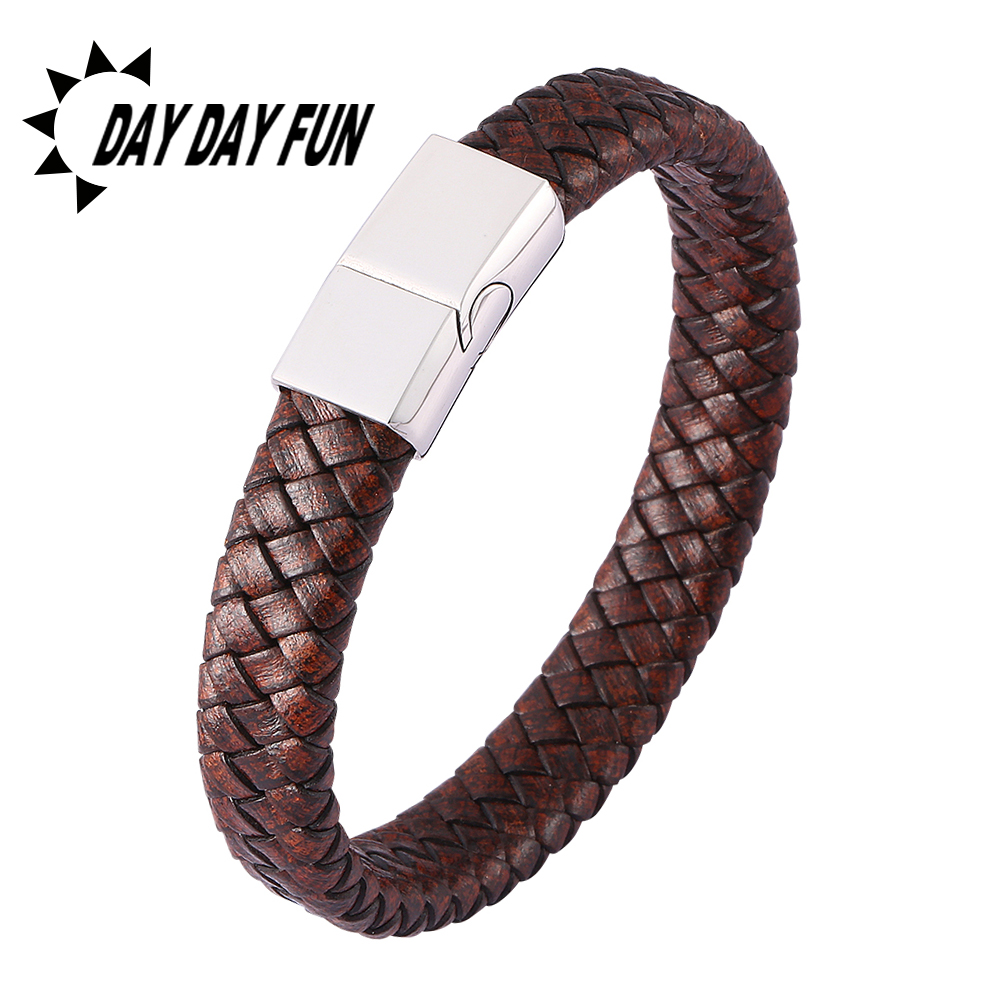 3 Colors Stainless Steel Magnetic Buckle Vintage Brown Leather Braided Bracelet Men Jewelry Male Bangles Gifts E0450
