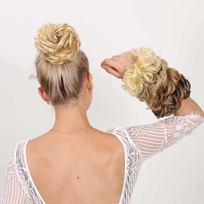 MANWEI synthétique Flexible cheveux brioches bouclés Scrunchy Chignon élastique désordre ondulé chouchous enveloppement pour queue de cheval élastique cheveux Exte