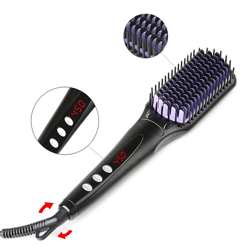 Styling Ionic Hair Straightener Flat Irons Comb Beard Professional Straightening Brush Heat Comb Digital Control Heating Brushes