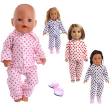 Doll clothing polka dot girl pajamas for 18-inch American dolls and 43cm baby doll clothes accessories, children's best gifts 1 set 18 american girl doll clothes and accessories white shirt and flower trousers 18 inch american girl dolls clothes ingbaby