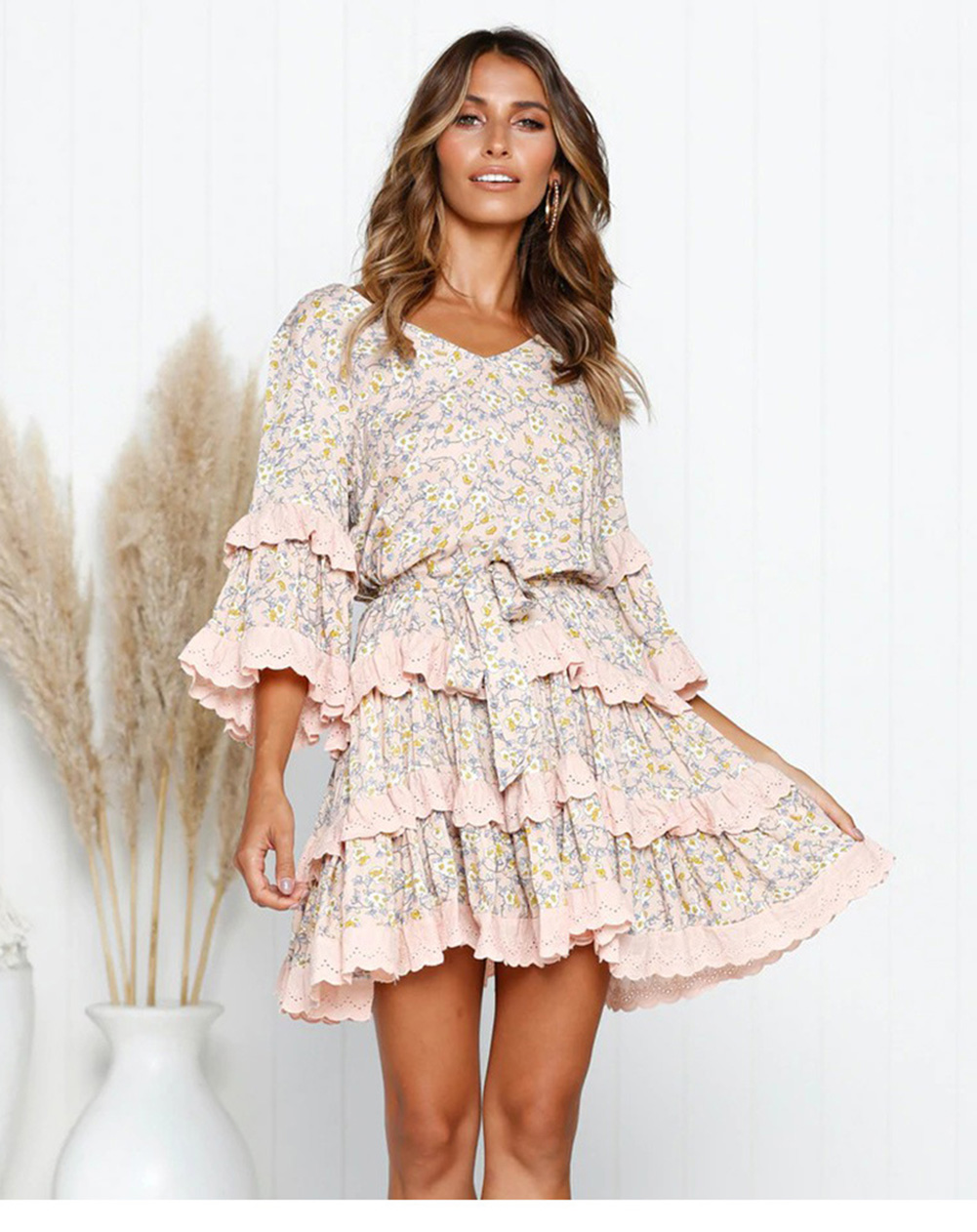 Vintage Floral Pleated V neck Mid Sleeve Short Mini Ruffles Dress 2