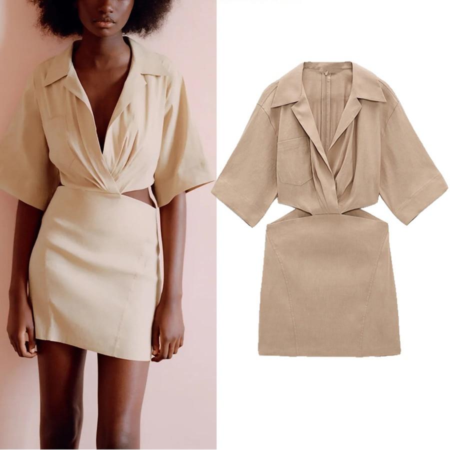 Короткие летние женские платья NWOMN Za с вырезами, повседневное мини-платье с карманами и коротким рукавом, женские шикарные платья на молнии ...