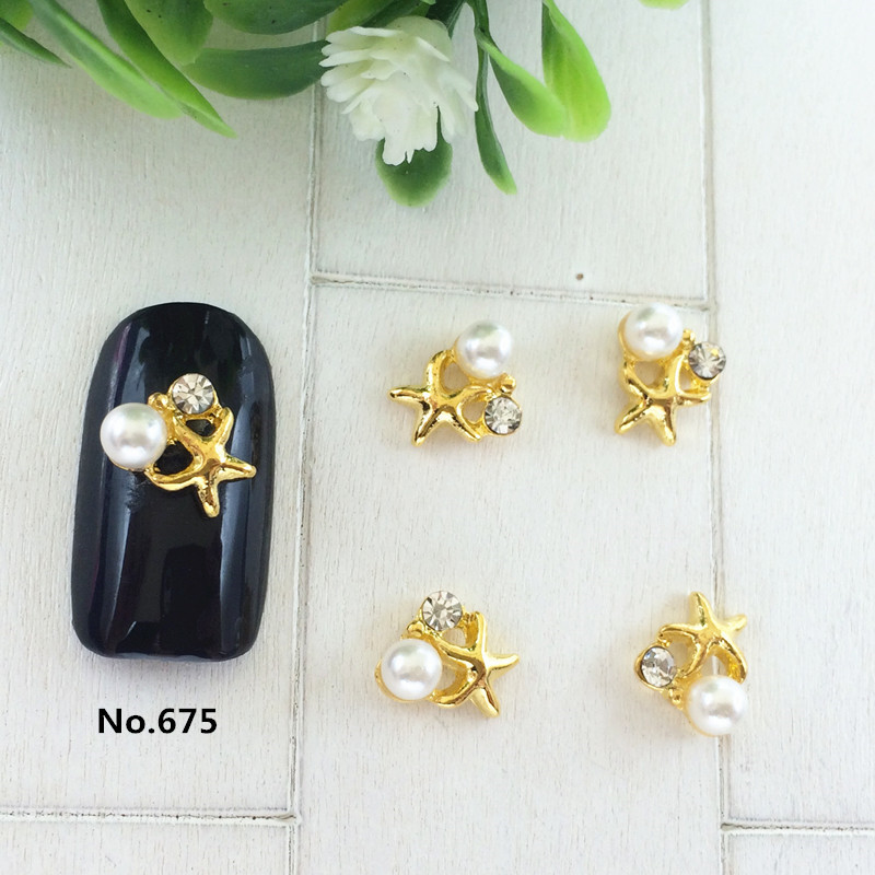 Japanese-style Alloy With Man-made Diamond Nail Ornament Metal Pearl Star Starfish Crystal Powder Nail Polish Nail Sticker