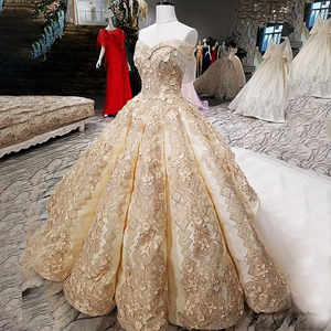 Image 4 - LS65411 1 큰 스커트 신부 가운 민소매 황금 샴페인 컬러 이브닝 드레스와 레이스 tain 중국 온라인 가게에서 직접 구매