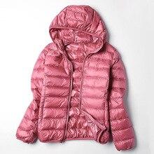Autumn Winter Womens Jacket Down Hooded Coat Female Ultra-Light White Duck Parka Warm Pink Black Basic Jackets Outwear