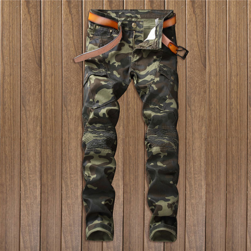 New Streetwear Fashion Camouflage Jeans Men Famous Designer Slim Washed Cotton Jeans Homme Skinny Jeans Men Brand Hip Hop Pants