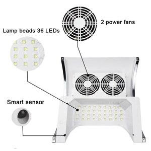 Image 2 - Sèche linge 80W 2 en 1, appareil de manucure avec aspiration sous vide, avec ventilateur et collecteur de poussière dongles, outil lampe à UV LED