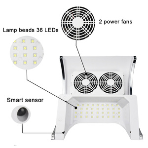 Image 2 - Secador de lâmpada uv led 2 em 1 80w, máquina para limpeza de unhas com ventilador de poeira, coletor de poeira ferramentas de manicure com sucção à vácuo,