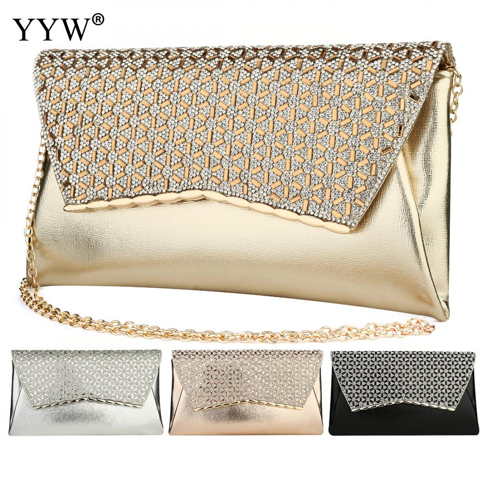 Image 5 - YYW Gold Clutch Bag Rhinestone Diamond Evening Purse With Chain Crossbody Bags Female Designer Luxury Party Clutches 2019 SacClutches   -