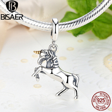 Authentic 925 Sterling Silver Charm Pure Legend Licorne Pendant Charm Beads Fit Charm Bracelet DIY Making Valentine Day Gift bamoer valentine day gift 925 sterling silver cheers for love couple beer pendant charm fit charm bracelet diy jewelry scc478