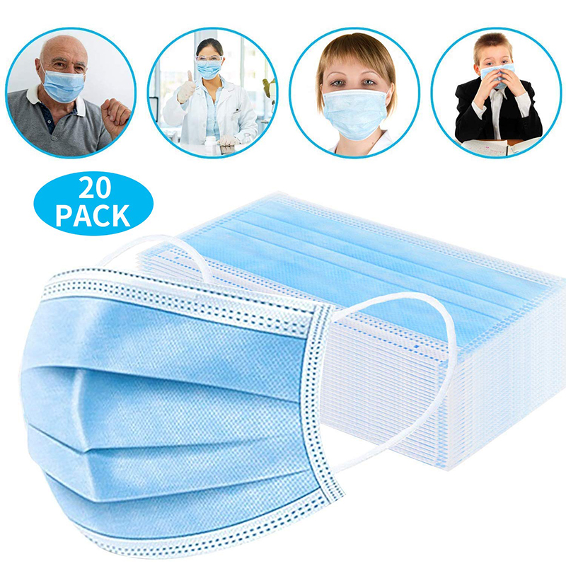Mouth Face Mask Disposable Face Mask Non Woven 3 Layers Dental Earloop Masks Anti-dust Virus Safe Breathable Blue