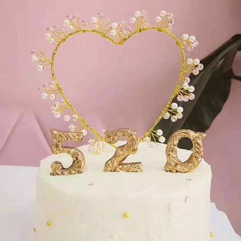 1pc fait à la main gâteau Topper amour coeur perle gâteau insérer carte Dessert Table décoration approvisionnement pour Fondant nourriture pics décoration
