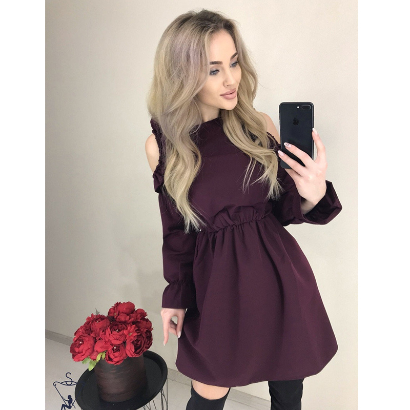 Spring Ruffle Mini Short Dress Women Sexy Off Shoulder Elastic Waist A Line Party Dress Casual Solid Long Sleeve Elegant Dresses