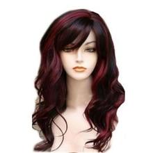 شعر مستعار اصطناعي طويل متموج شعر مستعار اصطناعي للنساء Bugundy ضوء شقراء يبرز لحزب زي