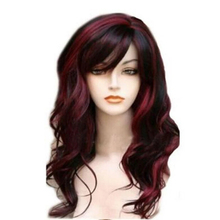HAIRJOY   Long  Wavy  Synthetic Hair Wig Women  Bugundy  Light Blonde Highlights  for Costume Party