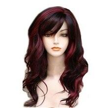 HAIRJOY uzun dalgalı sentetik saç peruk kadın Bugundy ışık sarışın kostüm partisi için