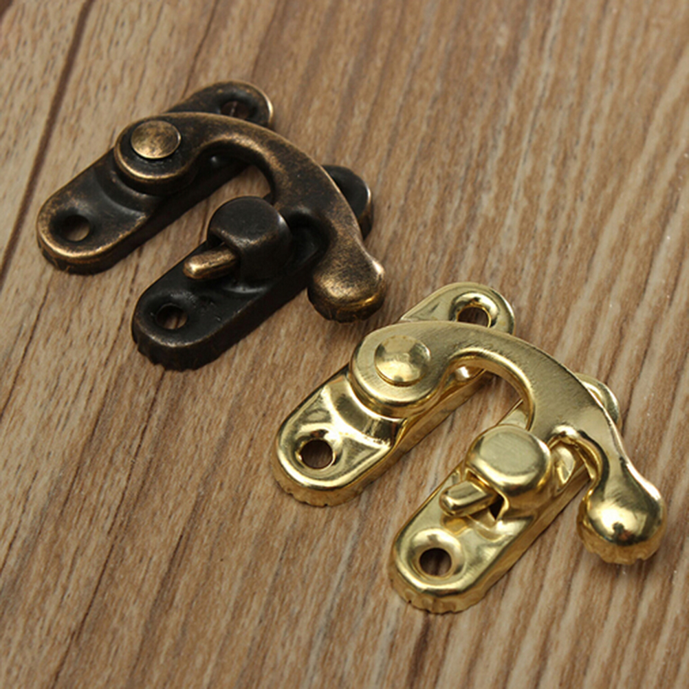 5pcs Antique Metal Lock Mini Decorative Hasps Hook For Gift Wooden Jewelry Box Padlock Without Screws Box Hardware Home Decor