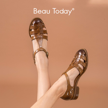 BeauToday Gladiator Sandals Women Genuine Cow Leather Cover Heel Buckle Strap Rome Summer Casual Lady Flat Shoes Handmade 33018