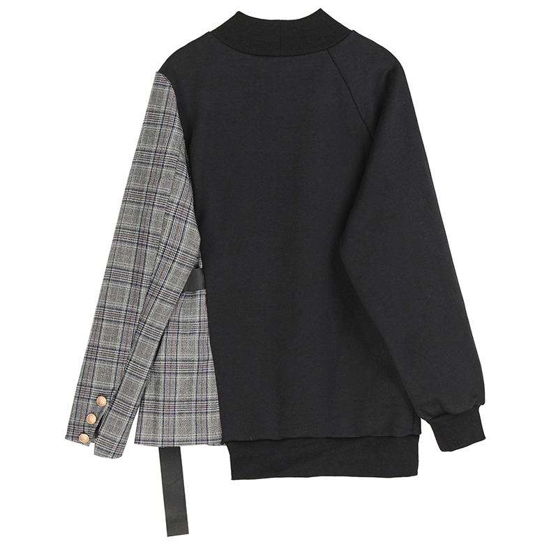 [EAM] Loose Fit Black Plaid Asymmetrical Sweatshirt New Round Neck Long Sleeve Women Big Size Fashion Tide Spring 2020 1S382 2